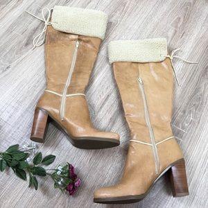 Nine West Knee High Heeled Boots Sherpa Trim